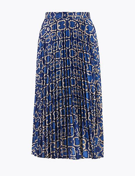 Animal Print Pleated Midi Skirt