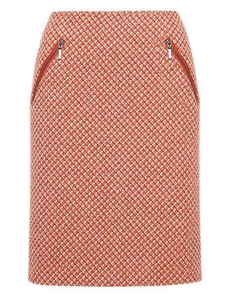 Twin Zip Bouclé Mini Skirt with Wool