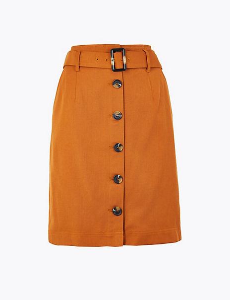 Button Through A Line Mini Skirt