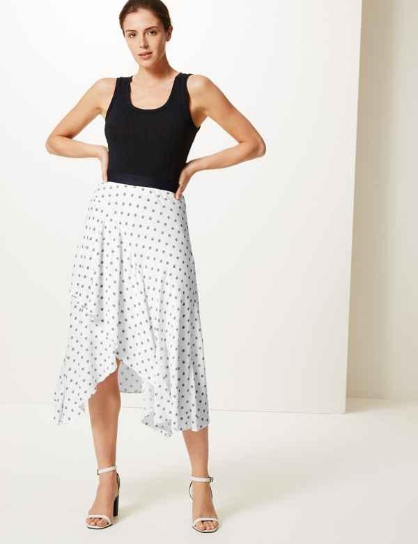 55eefca5cac Floral Print Wrap Midi Skirt