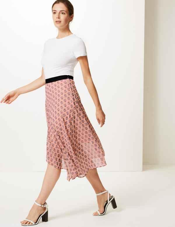 b4e66cc118c074 Floral Print Wrap Style Midi Skirt