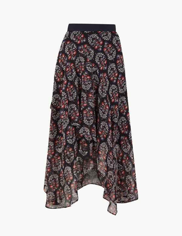 d7ea511b1d0 Floral Print Wrap Midi Skirt