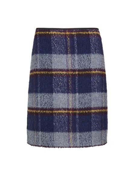Tartan Check Mini Skirt with Wool