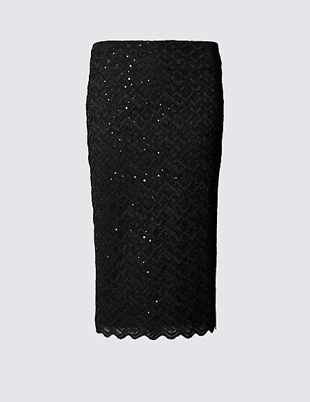 Geometric Sparkle Effect Lace Pencil Skirt
