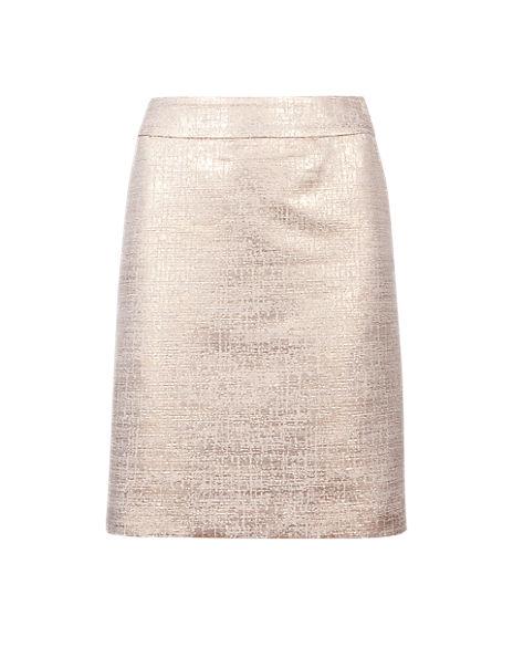 Metallic Effect Jacquard A-Line Mini Skirt