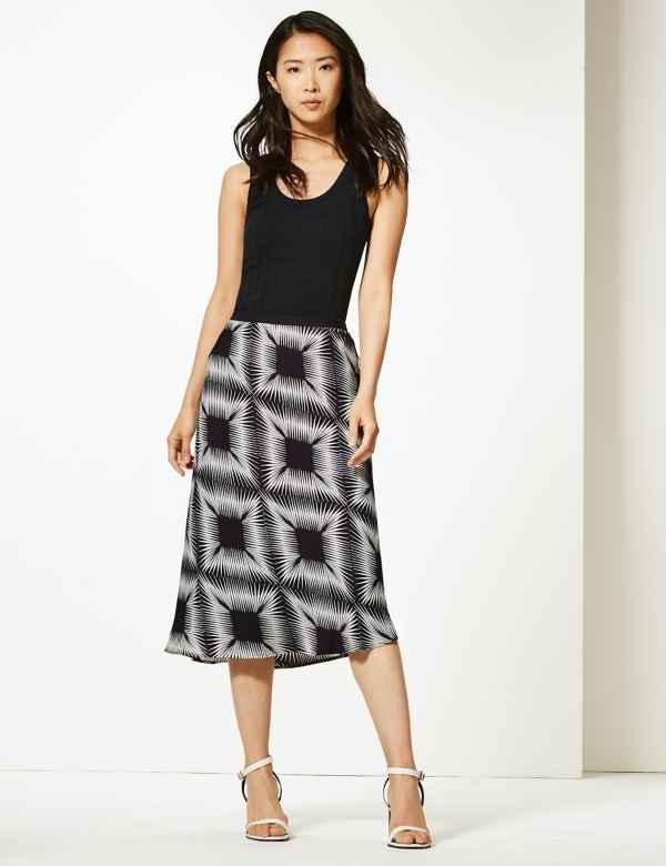 ce97f2aa062c Diamond Print Slip Midi Skirt