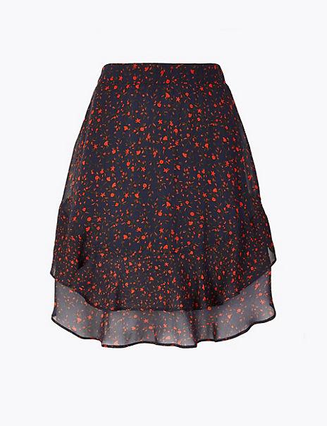 Floral Ruffle Hem Mini Skirt