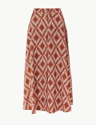 Marks and Spencer Diamond Print Button Skirt