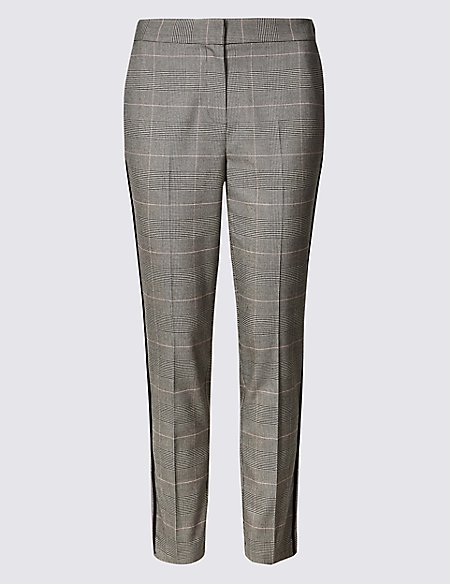 Checked Straight Leg Trousers