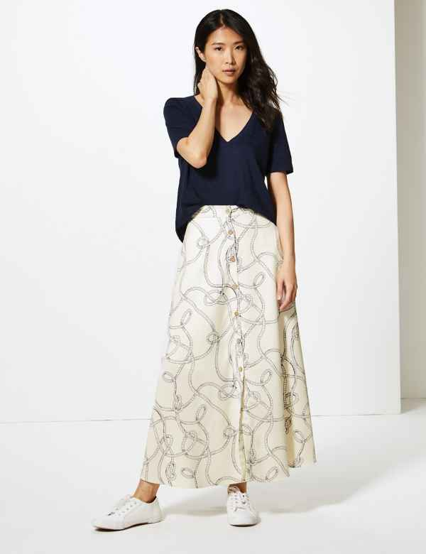 5c4a6c8268555 Printed Button Detailed A-Line Maxi Skirt