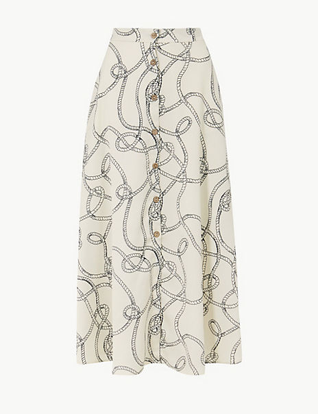 Printed Button Detailed A-Line Maxi Skirt