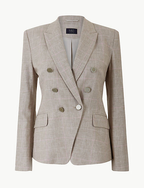 Linen Blend Checked Double Breasted Blazer