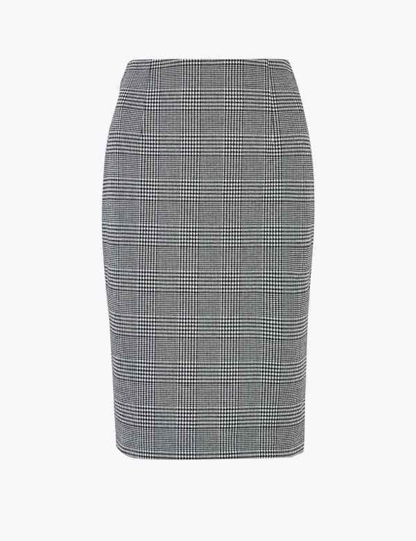 b8e25c4275 Jersey Checked Pencil Knee Length Skirt. New