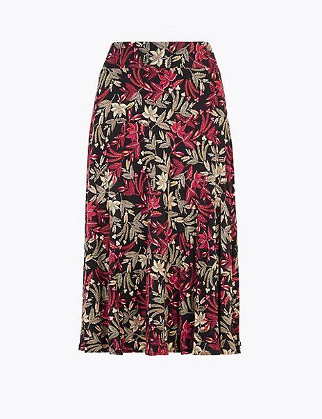 Jersey Floral Print Slip Midi Skirt