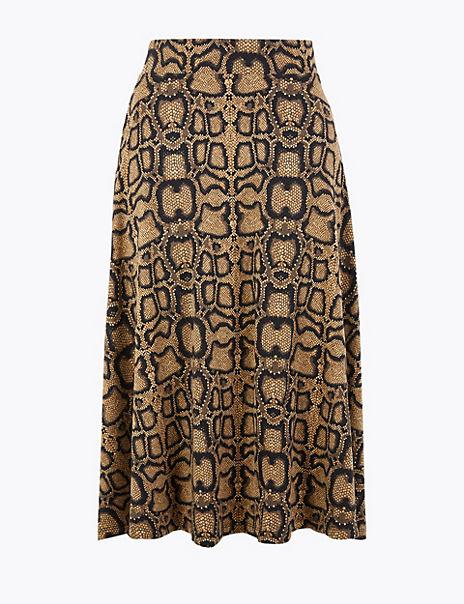 Snake Print A-Line Midi Skirt