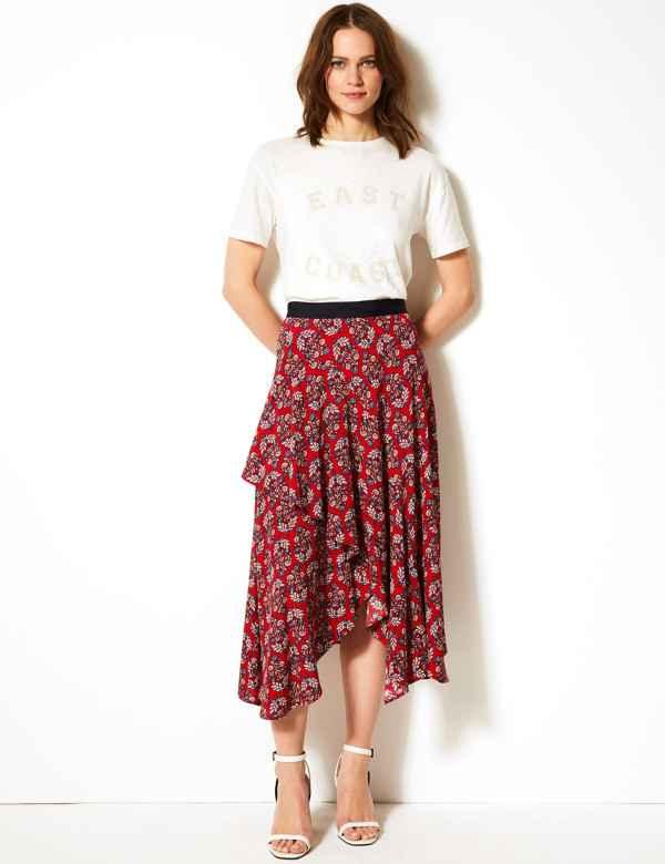 9e9f7f43517 Floral Print Wrap Midi Skirt