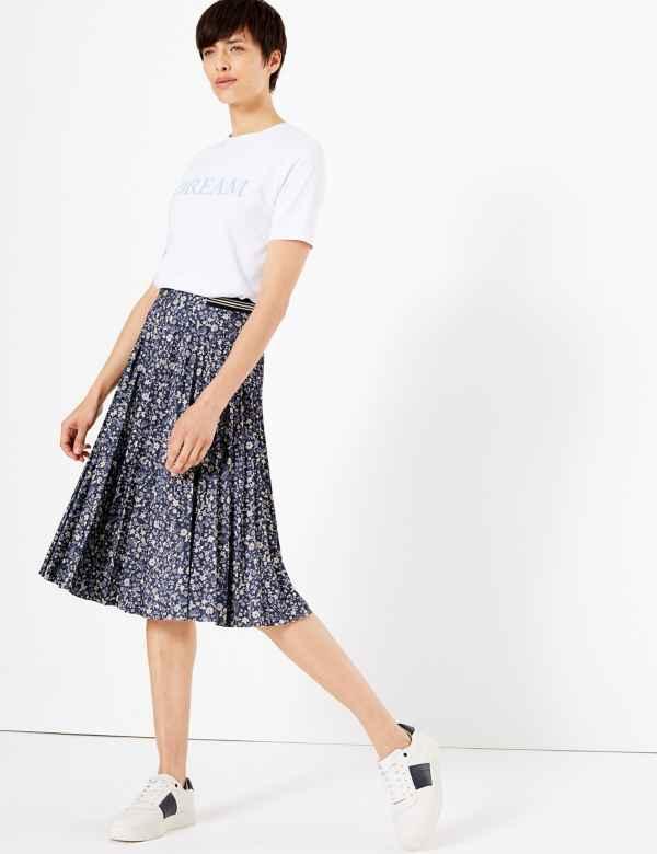 2c094d6f0 Floral Print Jersey Pleated Midi Skirt