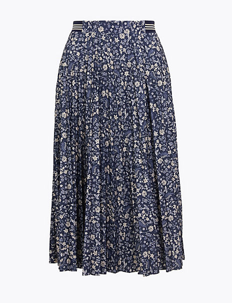 Floral Print Jersey Pleated Midi Skirt