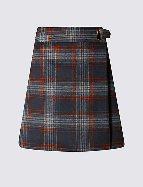 Wrap Checked A-Line Mini Skirt with Wool