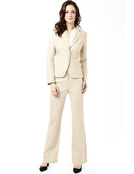 Linen Blend 4 Button Jacket