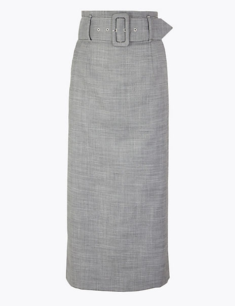 Belted Pencil Midi Skirt