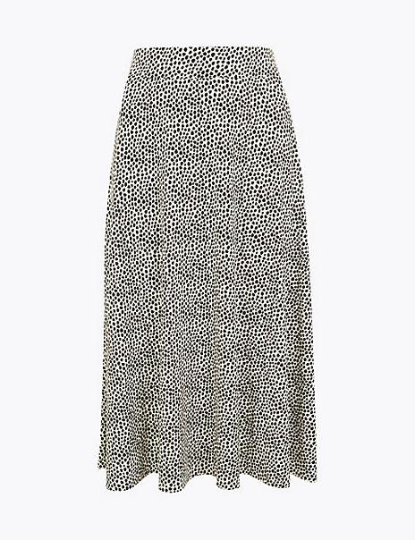 Jersey Spot Print Midi Skirt