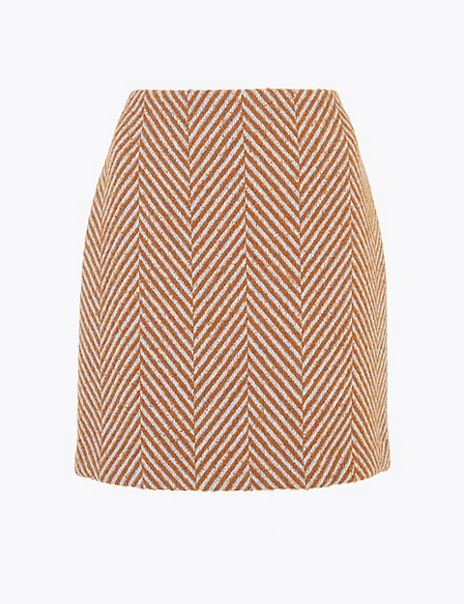 Herringbone Weave A-Line Mini Skirt