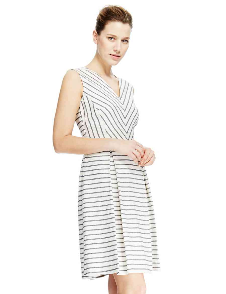 f64ca88c73 Linen Blend Striped Skater Dress