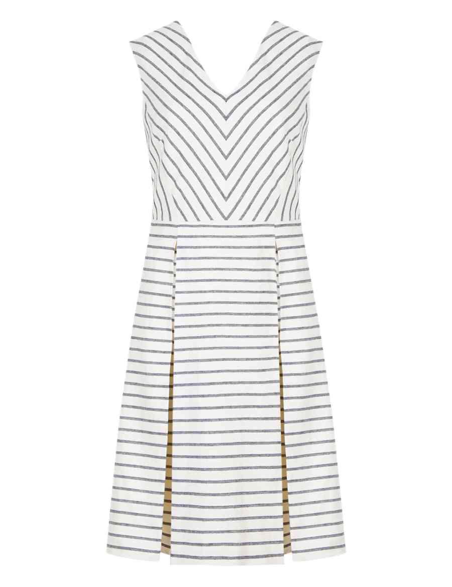 f64ca88c73 Linen Blend Striped Skater Dress