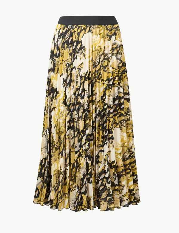 186cd3f77e Animal Print Pleated Midi Skirt