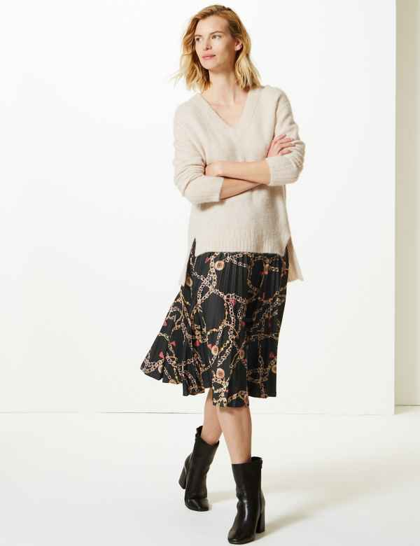 Printed Jersey Pleated Midi Skirt 93cd86919a8
