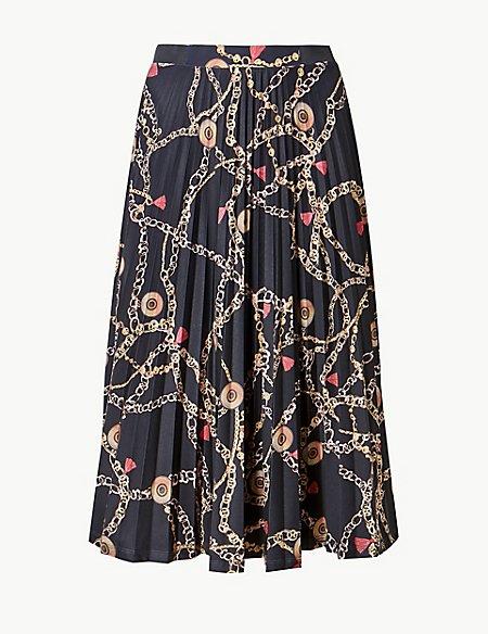 Printed Jersey Pleated Midi Skirt