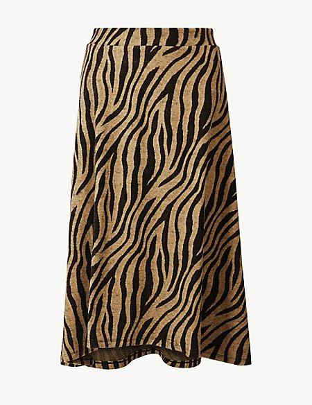Animal Print A-Line Midi Skirt