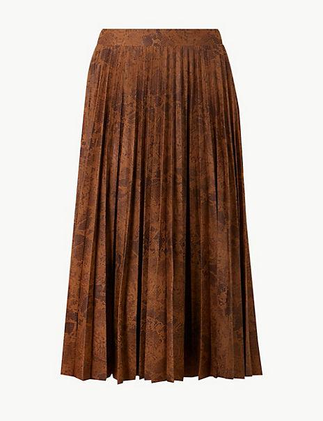 Animal Print Jersey Pleated Midi Skirt