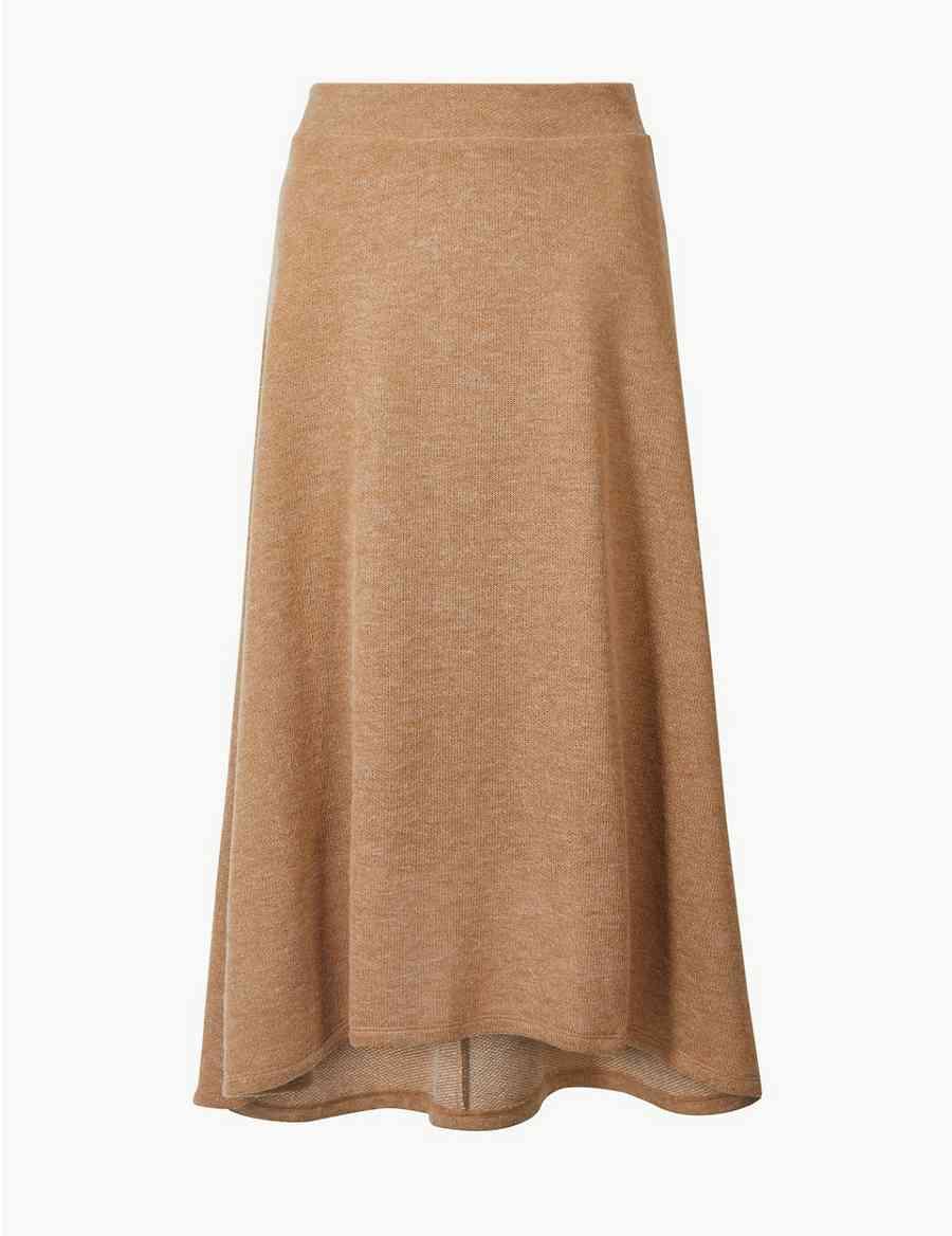 069366ebbe8 Knitted A-Line Midi Skirt