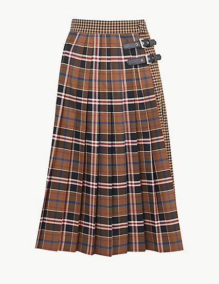 Checked A-Line Midi Skirt