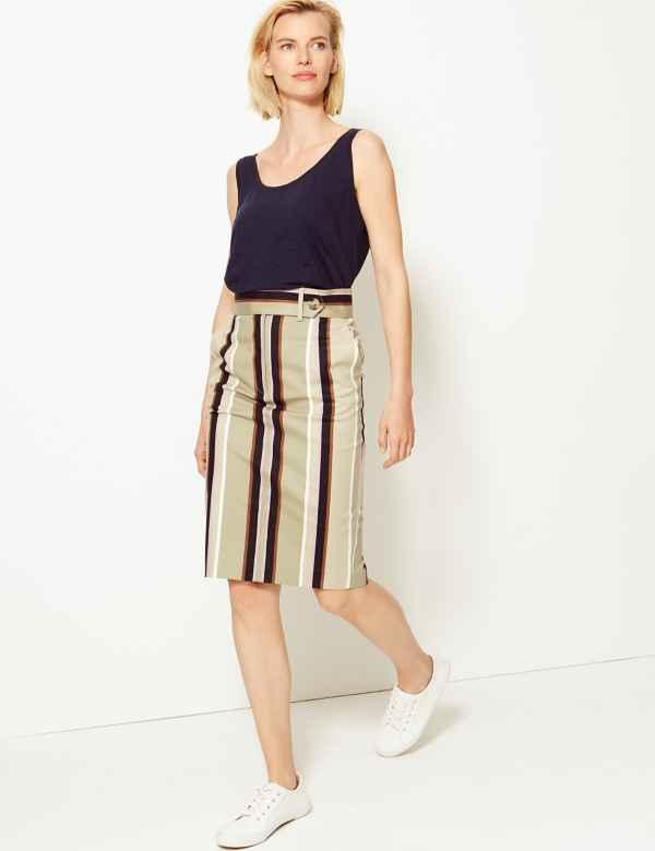 1e6e4c979e Cotton Rich Striped Pencil Skirt
