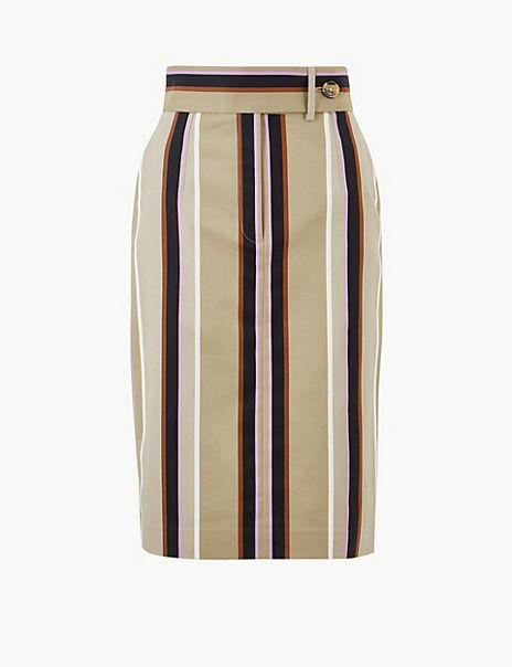 Cotton Rich Striped Pencil Skirt