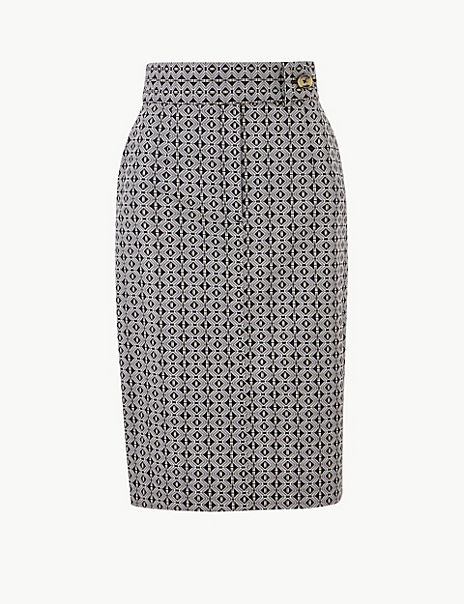Cotton Rich Geometric Print Pencil Skirt