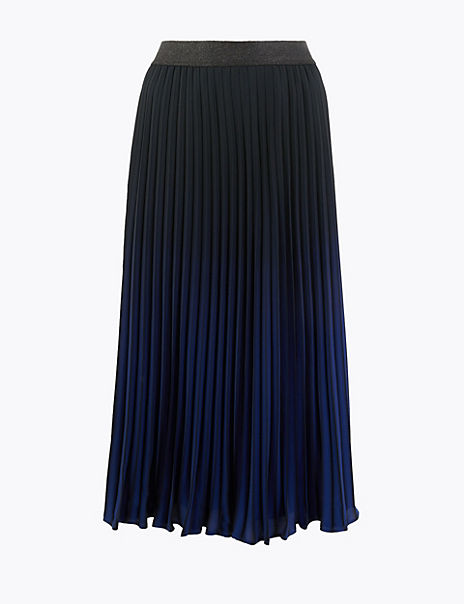 Pleated Ombre Midi Skirt