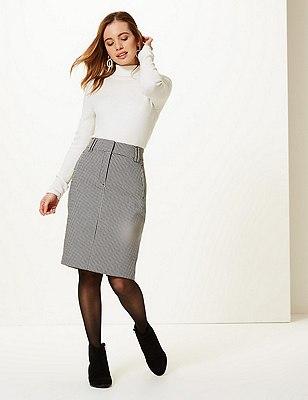 PETITE Checked Pencil Skirt