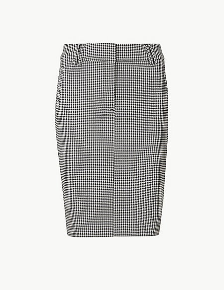 PETITE Checked Pencil Skirt
