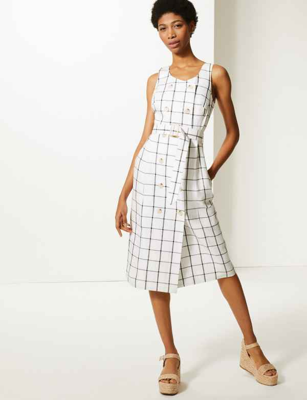 165b77ebe2d Pure Linen Checked Midi Relaxed Dress