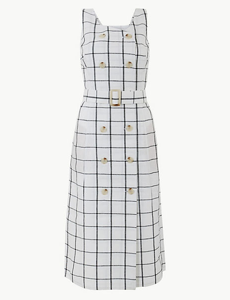 Pure Linen Checked Waisted Dress
