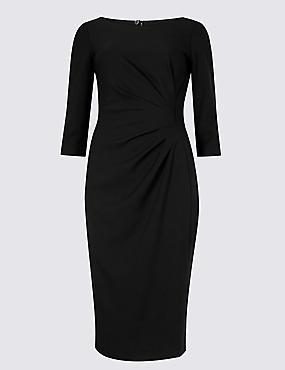 PETITE 3/4 Sleeve Shift Midi Dress