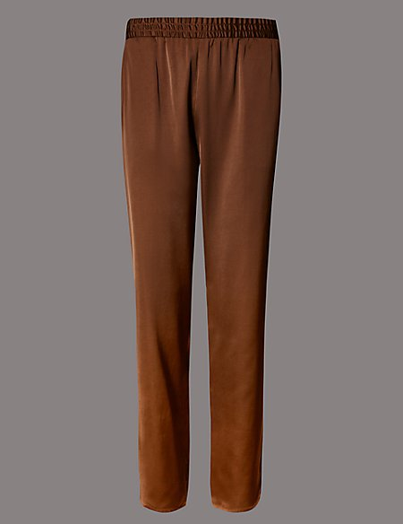 Satin Tapered Leg Trousers