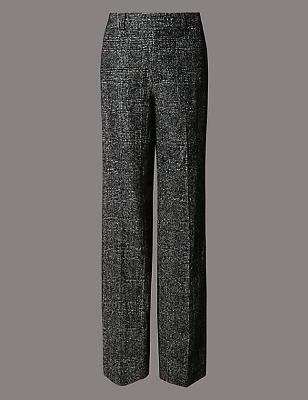 Wool Blend Checked Wide Leg Trousers