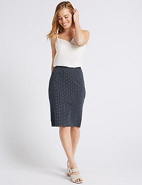 PETITE Spotted Jersey Skirt