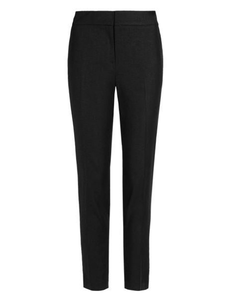 Linen Blend Tapered Leg Cropped Trousers