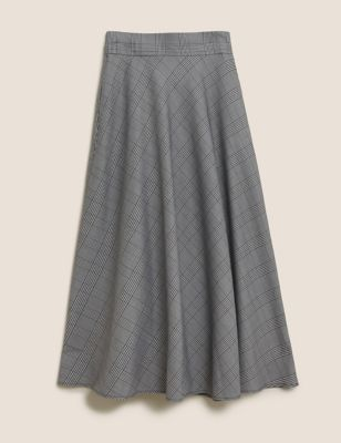 Checked Knee Length A-Line Skirt